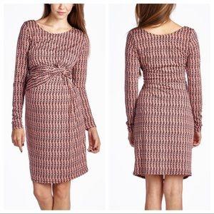 Hello Miz Burgundy & Pink Chevron Maternity Dress